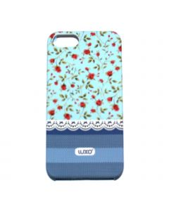 Luxo Case Lace For iPhone 5G/S (blå, Röd blommor)