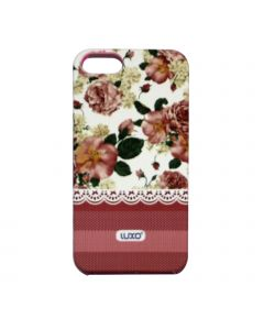 Luxo Case Lace For iPhone 5G/S (Vit, rosa/vita blommor)