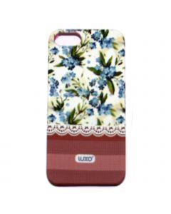 Luxo Case Lace For iPhone 5G/S (Vit, blå blommor)