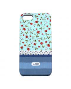 Luxo Case Lace For iPhone 5G/S (blå, Röd blommor)