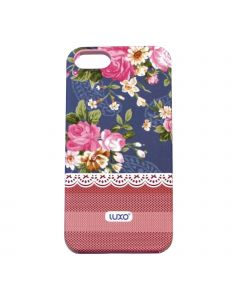 Luxo Case Lace For iPhone 5G/S (Blå, rosa rosor bl