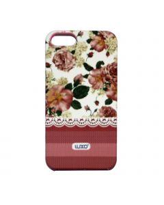 Luxo Case Lace For iPhone 5G/S (Vit, rosa/vita blommor)